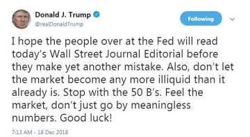 Trump warned the Fed to feel the market and maintain the Fed interest rates